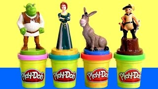 """getlinkyoutube.com-Play Doh SHREK Stampers with Princess Fiona Donkey Shrek """"Puss in Boots"""" PlayDough by ToyCollector"""