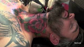 getlinkyoutube.com-☸ Violent Throat Tattooing ☸ Old School Color Session
