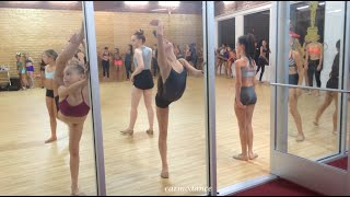 Maddie, kenzie, Brynn, Kendall, Nia, Jojo and Perris practicing Scorpions and Leaps at the ALDC LA