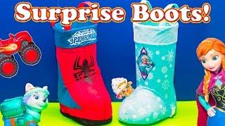 getlinkyoutube.com-SURPRISE EGGS Disney Frozen + Spiderman Surprise Boots with paw patol  + Lion Guard Surprise Video