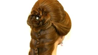 getlinkyoutube.com-Cute prom braided hairstyle for long hair. Hair made rose.