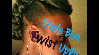 getlinkyoutube.com-Triple Bun Twist UpDo (Natural/Protective Style)