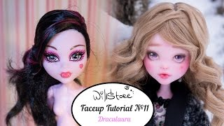 Faceup Tutorial №11 OOAK Draculaura repaint custom doll