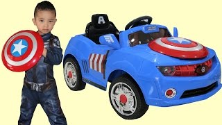 getlinkyoutube.com-Marvel Avengers Captain America Kids Electric Ride On Car 6V Battery Powered Unboxing Ckn Toys