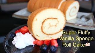 getlinkyoutube.com-How to Make Super Soft Vanilla Sponge Roll Cake | 超軟蛋糕卷(燙麵法)