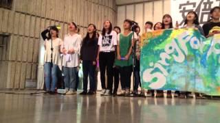 安倍政権 NO! ☆ 1002 大行進 自由の森学園有志合唱「民衆の歌」