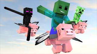getlinkyoutube.com-Minecraft Escola Monstro #63 - Porcos Voadores !! Monster School