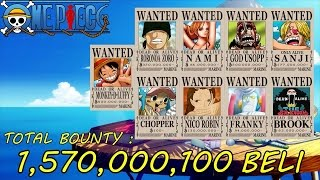 One Piece Straw Hat Pirates' All Wanted Posters