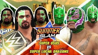 WWE 2K16 Mods - Super Luchas vs Super Usos (Roman Reigns & The Uso's vs Rey Mysterio & Luchas)
