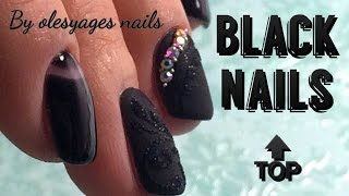 getlinkyoutube.com-Черный крутой маникюр •♥• BEST BLACK NAIL •♥• Nogtika & Olesyages Nails