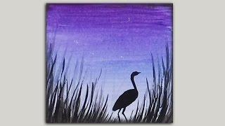 getlinkyoutube.com-Mini Acrylic Painting - Crane Silhouette