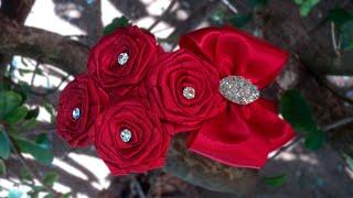 getlinkyoutube.com-Tiara com rosas de fita | DIY - PAP