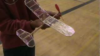 getlinkyoutube.com-Indoor flight of rubber band powered airplane