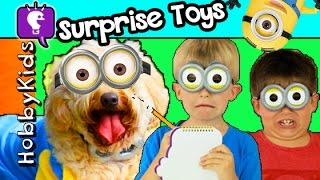getlinkyoutube.com-HobbyDog Hunts Lost MINION! Toy Surprise Adventure Eggs by HobbyKidsTV