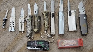 getlinkyoutube.com-Mini Switchblade / Lighter / Balisong / Keychain Knife Collection