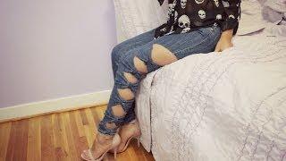 getlinkyoutube.com-HTM: Pantalon Jean con lazos