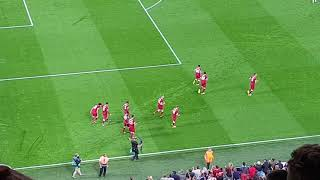 Celebrations after Emre Can's first goal vs Hoffenheim at Anfield 23/08/2017