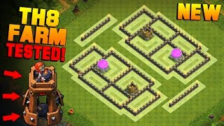getlinkyoutube.com-Clash of Clans | TH8 Farming Base with NEW BOMB TOWER | BEST Town Hall 8 Farming Base + PROOF [2016]