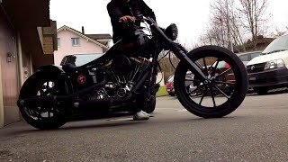 getlinkyoutube.com-Harley Davidson FXSB Breakout 3. Winter Customizing is Finished