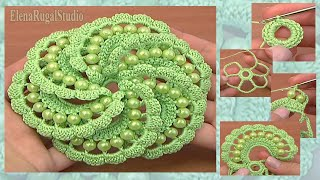 Crochet Spiral Flower With Beads Tutorial 103