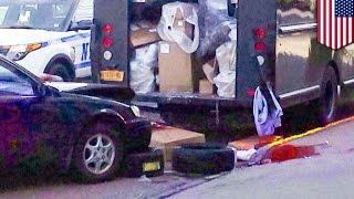 getlinkyoutube.com-トラックと乗用車に挟まれた配達員 脚切断