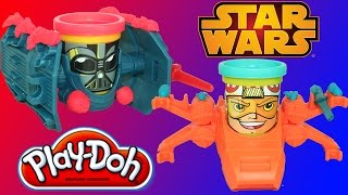 getlinkyoutube.com-Star Wars Play Doh Can Heads Luke Skywalker & Darth Vader X-Wing and Tie Fighter