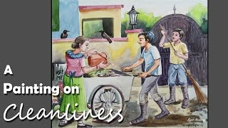 getlinkyoutube.com-Watercolor Painting on Cleanliness| step by step Drawing & Painting | swachh bharat/ Clean India