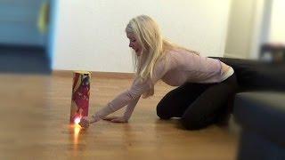 getlinkyoutube.com-Blonde Girl Lights Firecracker in the House (Epic FAIL)