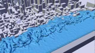 getlinkyoutube.com-Tsunami Floods City 2 - Blender Simulation