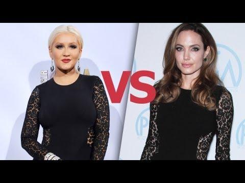 !Christina Aguilera vs. Angelina Jolie 2 Mujeres 1 Vestido!