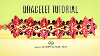 getlinkyoutube.com-Leaf Bracelet with Swarovski Berries | TUTORIAL Macramé
