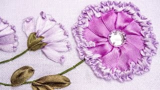 getlinkyoutube.com-Embroidery | Ribbon Flower Design | Hand Stitching Tutorials | HandiWorks #78