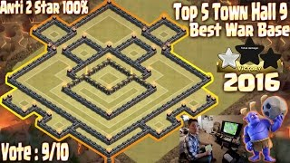 getlinkyoutube.com-[TOP 5] Th9 (Town Hall 9) Best war base 2016. Anti 2 star, Anti all combo. Build + Replay