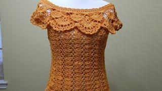 getlinkyoutube.com-Blusa Tejida para Verano Crochet parte 1 de 2