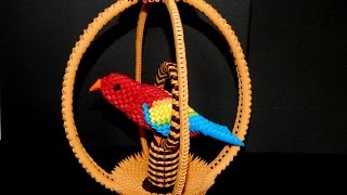 How to make 3d origami parrot cage part1