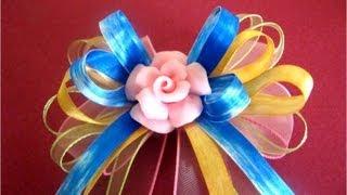 getlinkyoutube.com-Moños y lazos para el cabello rosas de porcelana
