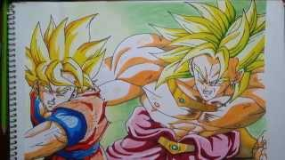 getlinkyoutube.com-Dibujando a Goku vs Broly. Drawing Goku vs Broly. speed drawing goku VS broly