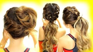 getlinkyoutube.com-3 ★ Cutest WORKOUT HAIRSTYLES! BRAID SCHOOL HAIRSTYLES for Long Medium Hair