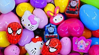 getlinkyoutube.com-NEW 110 Surprise Eggs Opening Giant Kinder Surprise Lot Disney Princess Marvel Spiderman Hello Kitty