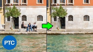 How To Use The Patch Tool with CONTENT-AWARE in Photoshop - Remove Distracting Objects From Photos width=
