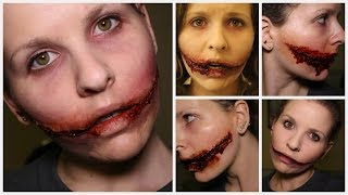 getlinkyoutube.com-7 Different ways to do a Chelsea Grin | Chelsea Smile SFX Makeup Tutorial
