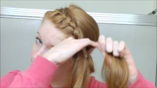 getlinkyoutube.com-French Braided Headband into Messy Bun