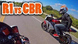 getlinkyoutube.com-Yamaha R1 vs Honda CBR1000RR - 150mph+ (w/ DoItWithDan)