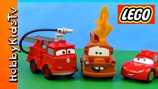 getlinkyoutube.com-LEGO Red Firetruck ★Mater on FIRE ★Lightning McQueen ★Box Open and Play-Disney Cars Duplo (6132)