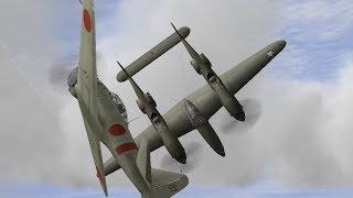 getlinkyoutube.com-ゼロ戦 vs P-38ライトニング IL2 A6M2 21 vs P38F1LO(ace)