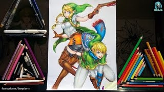 getlinkyoutube.com-Drawing Linkle and Link - Hyrule Warriors Legends