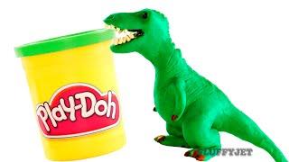 getlinkyoutube.com-Dinosaurs Play doh Stop Motion T-Rex Dinosaur animation Tyrannosaurus Rex dinosaur toy eggs Jurassic