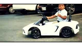 Baby in his White Lamborghini Aventador (6V) for kids