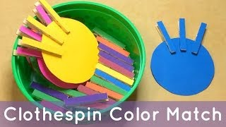 getlinkyoutube.com-Clothespin Color Match Preschool Learning Activity For Color Recognition and Fine Motor Development