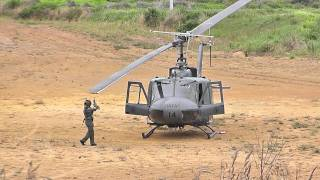 RNZAF UH-1H IROQUOIS START's UP & TAKE's OFF IN A PADDOCK